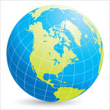 America do Norte no globo do mundo Fotos de Stock Royalty Free