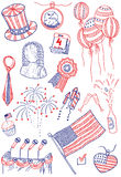America doodles. Independence day of America doodles Royalty Free Stock Photos