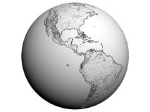America on an earth globe. 3D rendering of America on a white earth globe Stock Photos