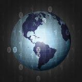 America earth globe on binar code background  Stock Images