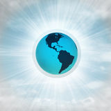 America earth globe in glossy bubble in the air with flare Stock Images