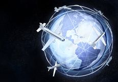 America earth globe view with air traffic Stock Photo