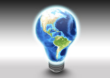 North America as light bulb. A render of the Earth as a light bulb turned on. This symbolizes successful a global solution or idea. The focus of success here is Royalty Free Stock Images
