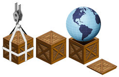 America earth world in open wooden crate packing collection  Stock Image