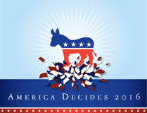 America 2016 elections. Illustration representing the 2016 United States presidential elections to be held in 2016. The donkey represents the Democrat party Royalty Free Stock Image