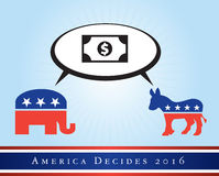 America 2016 elections. Illustration representing the 2016 United States presidential elections to be held in 2016. The donkey represents the Democrat party and Stock Photo