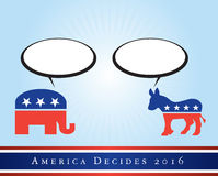 America elections 2016. Illustration representing the 2016 United States presidential elections to be held in 2016. The elephant and the donkey represent the Royalty Free Stock Image