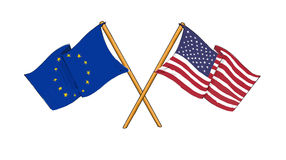 America and Europe alliance and friendship. Cartoon-like drawings of flags showing friendship between Europe and USA Royalty Free Stock Photo