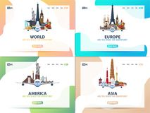 America, Europe, Asia, World. Set of Travel banners or web template for web site or landing page. Time to travel. Vector UI. stock illustration