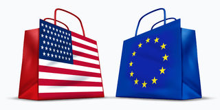 America and the European Union trade. Symbol represented by two red shopping bags with the American and the Europe flag with stars and stripes symbol showing Royalty Free Stock Images