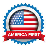 America First badge with USA flag Royalty Free Stock Images