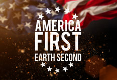America first catcheword with american flag. America first, earth second catcheword with american flag Royalty Free Stock Photography