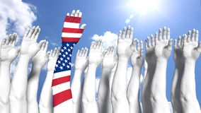 America first concept arm painted as us flag. Group of white arms in front of blue sunny sky and one arm with a us flag texture america first concept 3D Royalty Free Stock Photos