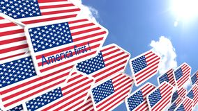 America first concept flying flag arrows. Flying arrows with the american flag heading towards the sun america first concept 3D illustration Royalty Free Stock Photos