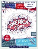 America First. Comic book style poster. America First. Poster design in style of comics book. Speech bubble with speed lines and 3D explosion Royalty Free Stock Images