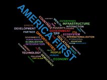 AMERICA FIRST - word cloud wordcloud - terms from the globalization, economy and policy environment. Wordcloud with series of terms from the globalization Royalty Free Stock Photos