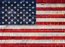 America flag on a brick wall Royalty Free Stock Photos