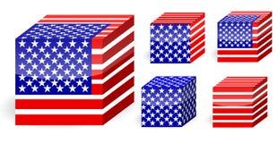 America flag cube Stock Photos