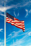 America Flag Flying at Half-Staff. USA Flag Flying at half-staff stock photos