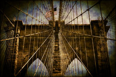 America Flag Flying Over The Brooklyn Bridge Royalty Free Stock Photo