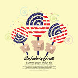 America Flag Lollipop Festival Concept. Stock Photo
