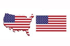America flag map. Stock Photo