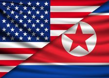 America flag and North Korea flag, friendship relationship Royalty Free Stock Photography