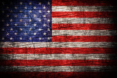 America flag. Painted on old wood plank background Stock Image