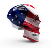 America flag painted on a skull. Skull isolated with America flag painted on it stock photography