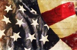 America flag pattern postcard. America flag pattern on old postcard , retro style vector illustration
