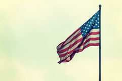 America flag on the sky. Vintage style royalty free stock images