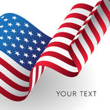 America flag. Vector. American waving flag with shadow. Vector. Your text Royalty Free Stock Photography