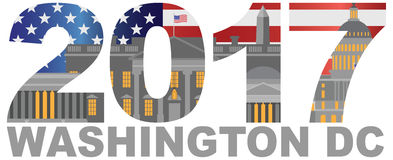 2017 America Flag Washington DC Outline Illustration. 2017 USA American Flag Numbers Outline Washington DC  on White Background Illustration Stock Photo