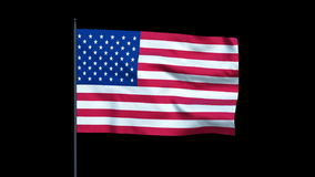 America Flag Waving, Seamless Loop, Alpha, stock footage Stock Photography