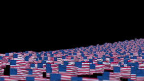 America Flags and Camera Fly Over, DOF, stock footage stock video