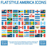 America flags. Flat style America flags set Royalty Free Stock Image