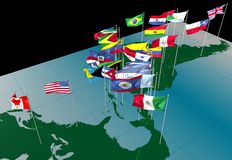 America flags on map (northern view). Flags of nations on America continent flying at their capital cities stock illustration