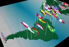 America flags on map ( souther view). Flags of nations on America continent flying at their capital cities vector illustration