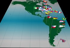 America flags on map ( whole continent view) vector illustration