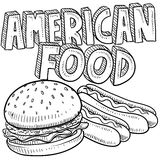 America food sketch. Doodle style American food vector sketch including hamburger, hot dog, and text message Royalty Free Stock Photo