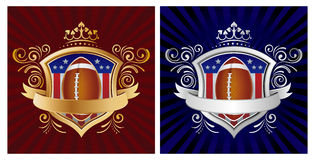 america football with shield Royalty Free Stock Photography
