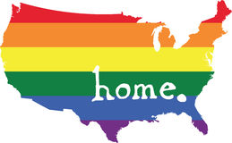 America gay pride vector country map. LGBT community pride vector U.S. state decal: easy-edit layered vector EPS10 file scalable to any size without quality loss Royalty Free Stock Images