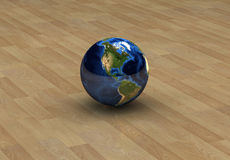 America on globe isolated. Unique Globe on a woodden floor with America  seen in front Stock Image