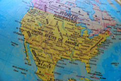 America on the globe. A photo taken on a globe showing the map of central America and its neighboring lands Royalty Free Stock Photography