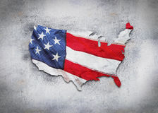America grunge. Map and flag Stock Photography