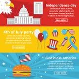 America holiday banner horizontal set, flat style Royalty Free Stock Photos