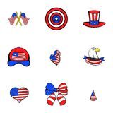 America icons set, cartoon style Stock Photography