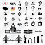 America icons set Royalty Free Stock Images