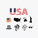 America icons set Stock Image