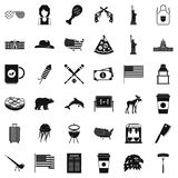 America icons set, simple style Royalty Free Stock Photography